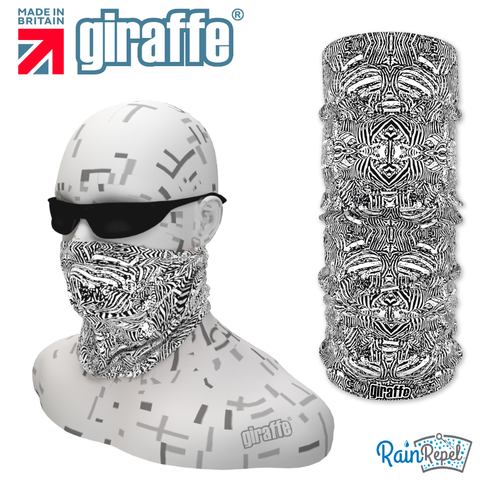 G-474 Aztec black White  Face Mask Black Tube  Bandana