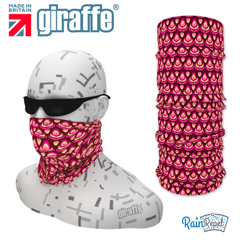 G-477 Purple Pattern Face Mask Black Tube  Bandana
