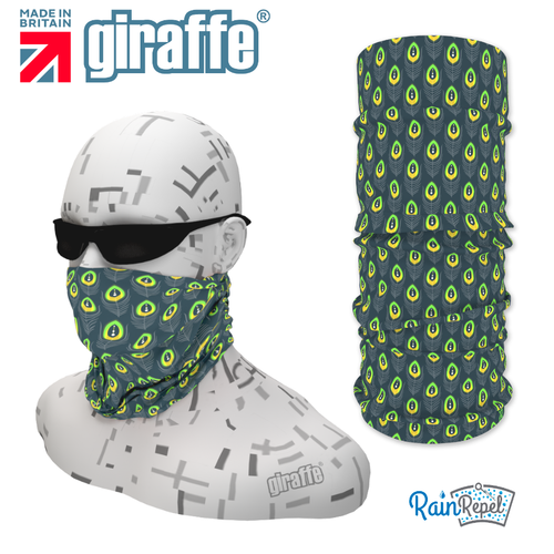 G-478 Green Pattern Face Mask Black Tube  Bandana