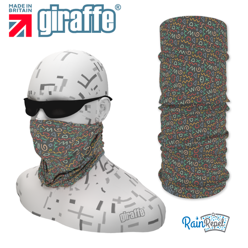 G-479 Grey Pattern Face Mask Black Tube  Bandana