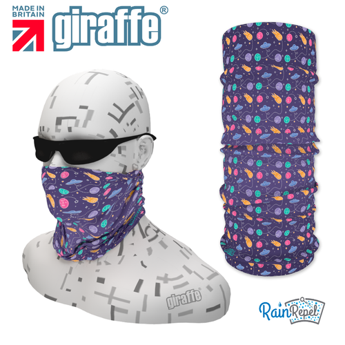 G-481 Purple Pattern Face Mask Black Tube  Bandana