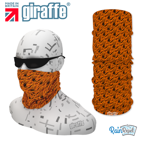 G-486 Orange Pattern Face Mask Black Tube  Bandana
