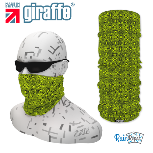 G-494 Green Pattern Face Mask Black Tube  Bandana