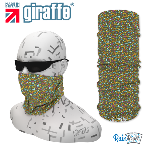 G-497 Multi Green  Pattern Face Mask Black Tube  Bandana