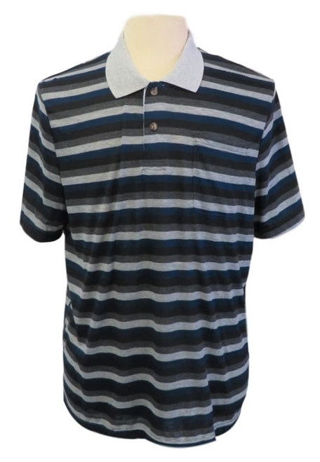 Mens Open-Back Shoulder Snap Polo and Henley Shirts-Navy/Grey Stripe