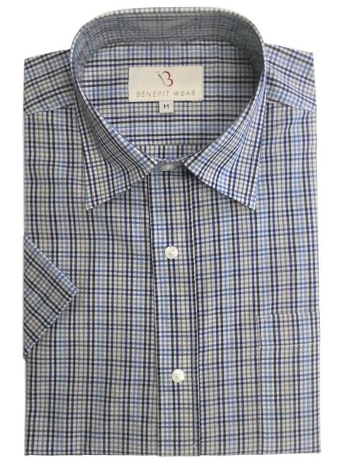 Men's Front Velcro®  Closure Shirt, Short Sleeve, Blue Grey