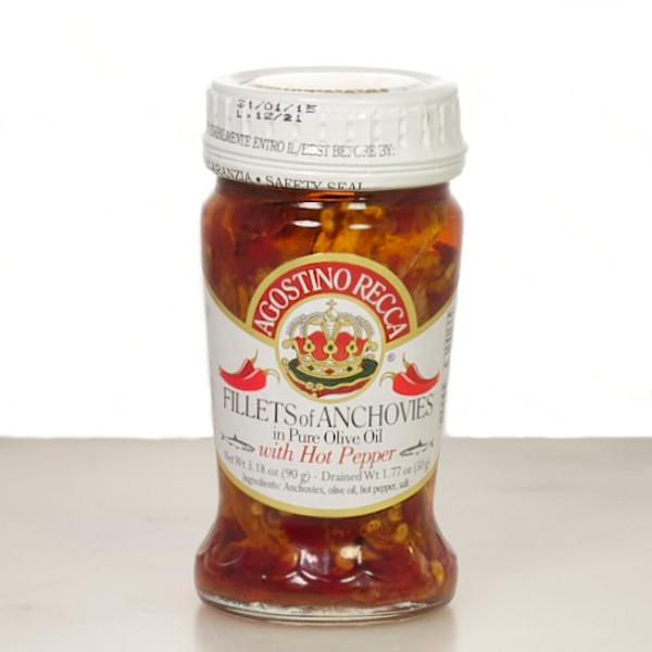 Agostino Recca Anchovies in Olive Oil with Hot Peppers