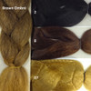 Color comparison showing Brown Ombré on the left and 2 Darkest Brown, 8 Ash Brown, and 27 Strawberry Blond on the right