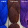 Color comparison from left to right: Navy Blue, Blue Chocolate, Dark Purple