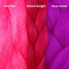 Color comparison from left to right: Hot Pink, Turkish Delight, Neon Violet