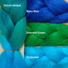 Color comparison showing Petrol Ombré on the left, and Navy Blue, Emerald Green, and Turquoise from top to bottom on the right