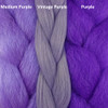 Color comparison from left to right: Medium Purple, Vintage Purple, Purple