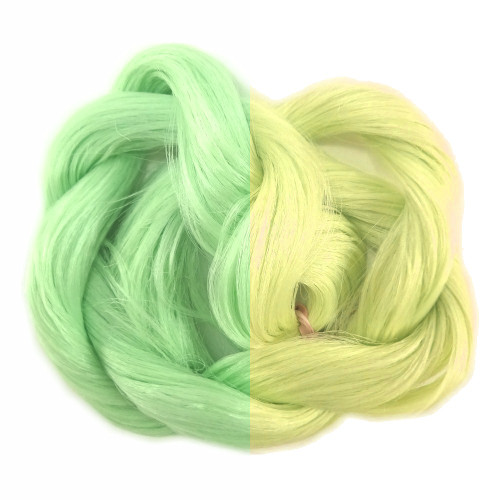 Pastel Green/Yellow thermal color change hair extensions