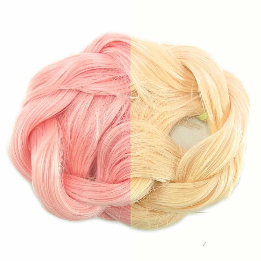Pale Pink/Yellow thermal color change hair extensions