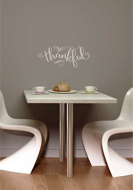 """Fall Vinyl Wall Decals Lettering """"So Thankful"""" Quote for Home Decor"""