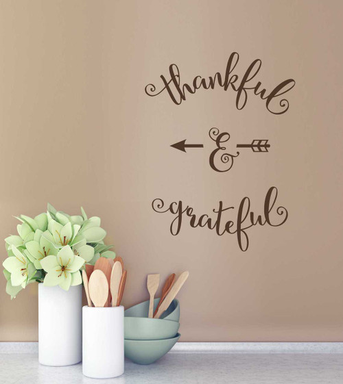 Thankful and Greatful Elegant Vinyl Wall Decal Lettering, Thanksgiving Wall Decor