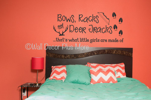 Bows Racks Deer Tracks.. Girls Are Made Of Hunting Quotes Vinyl Wall  Decals Stickers-Black