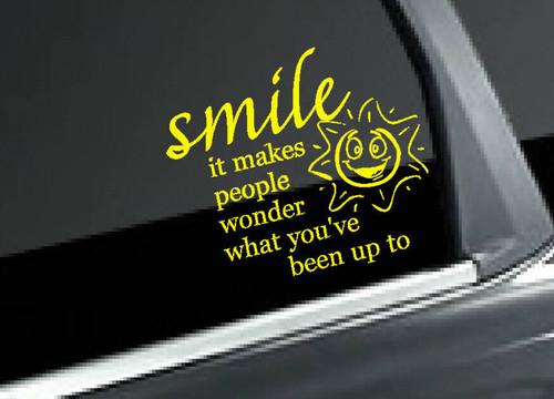 Smile It Makes People Wonder Funny Vinyl Car Window Decals Letters
