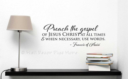 Wall Words Preach the Gospel Wall Stickers Vinyl Decal Quote