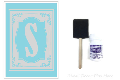 Etching Kit for 9x13 Glass Dish Swirls Frame with Monogram Letter Vinyl Sticker Stencil, Cream, Brush