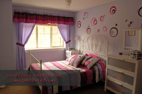 Chocolate Brown, Lilac,Hot Pink 3-Color Wall Stickers Circles Rings and Dots for Girls Bedroom Decor