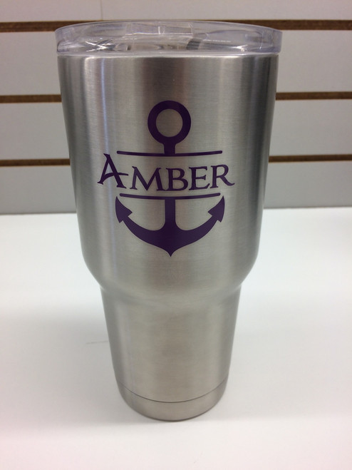 Vinyl Stickers Decals with Anchor for RTIC or Yeti Tumblers, 3x3-Inch, Set of 2