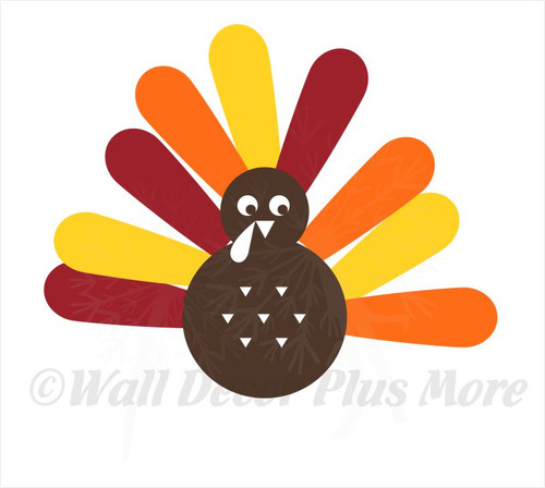 Turkey with Feathers Wall Decal Sticker for Fall Home Decor