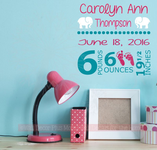 Baby Girl Personalized Vinyl Lettering Wall Decal Sticker with Birth Stats