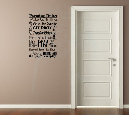 Farming Rules Subway Art Wall Lettering Quotes Vinyl Decal Sticker-Black