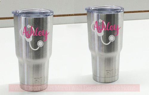 Nurse Tumbler Decals Vinyl Stickers Stethoscope Customized with Name, set of 2