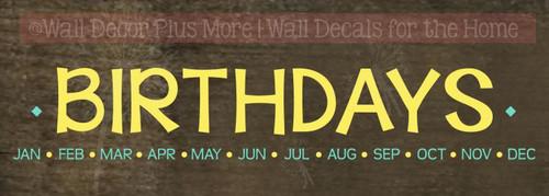 Birthday Celebration Wall Sticker Decals DIY Board Family Wall Home Decor-Light Yellow, Mint