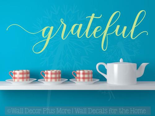 Grateful Cursive Lettering Modern Vinyl Decals Wall Sticker Art Kitchen-Key Lime
