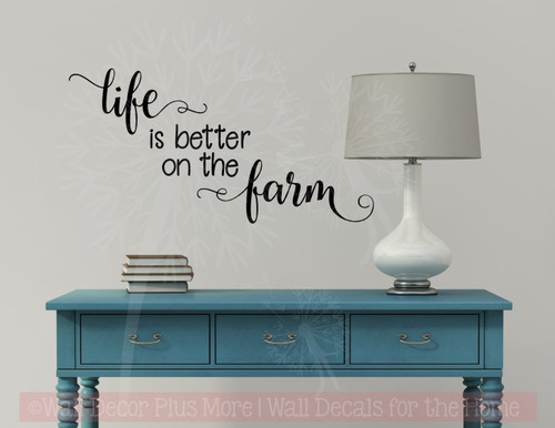 Life is Better on the Farm Wall Decals Vinyl Stickers Home Decor Quote-Black