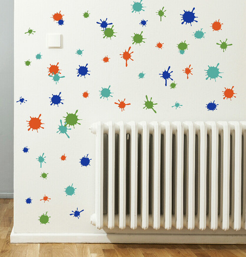 Turquoise Orange Traffic Blue Olive Green Mud Paint Splatter Vinyl Wall Stickers Shapes for Daycare, Classroom, Kids Room