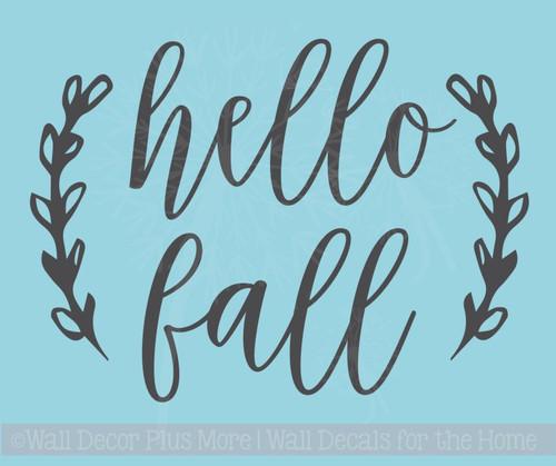 Hello Fall Laurel Leaf Wreath Vinyl Art Stickers Autumn Pumpkin Decals