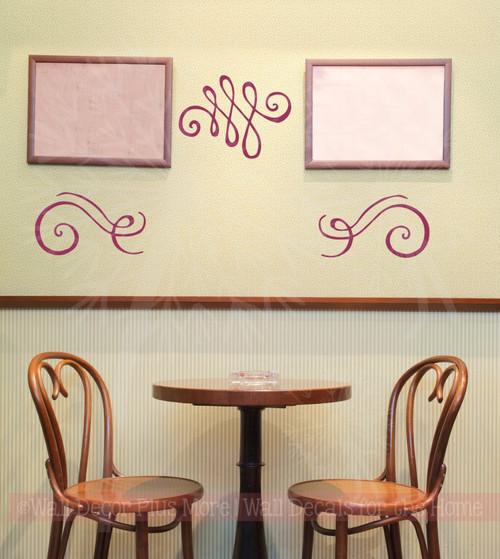 Swirls Wall Art Stickers Vinyl Decals Living Room Home Wall Décor 3pc-Berry