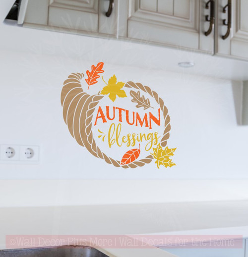 Autumn Blessings Fall Home Decor Vinyl Decals Wall Art Stickers-Tan, Orange, Mustard