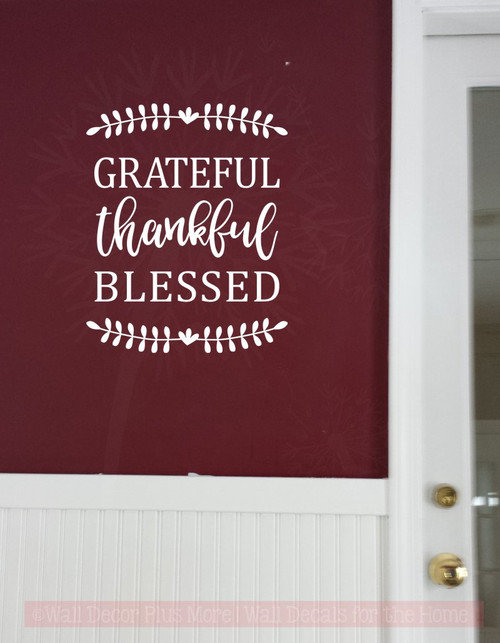 Grateful Thankful Blessed Fall Vinyl Lettering Autumn Wall Decals-White