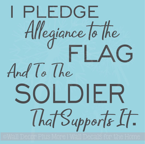Pledge Allegiance Military Vinyl Letters Decals Wall Sticker Quote