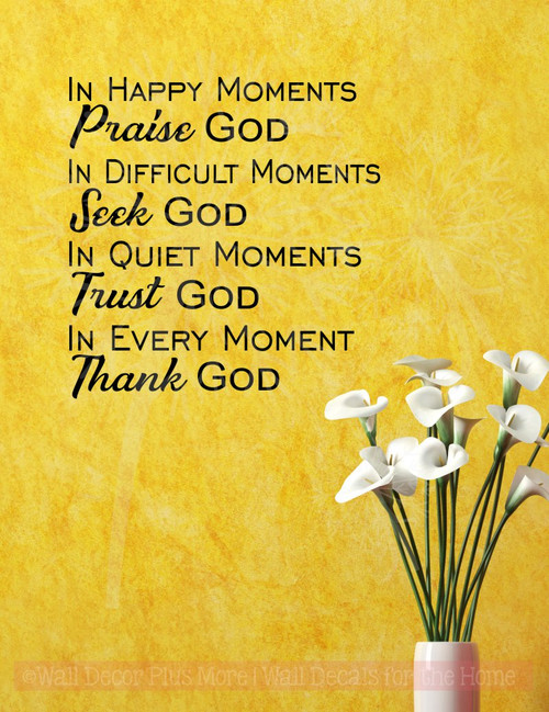 Every Moment Thank God Vinyl Letters Religious Wall Quotes Stickers-Black