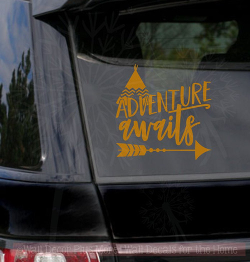 Adventure Awaits Quote with Arrow Vinyl Car Window Decals Sticker Art-Copper