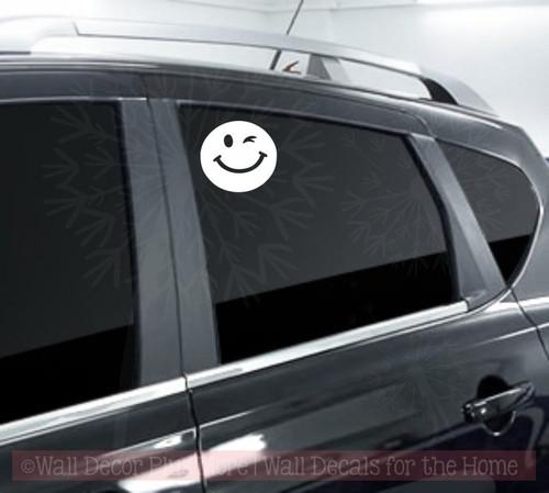 Smiley Wink Face Vehicle Stickers Vinyl Art Inspiring Car Window Decals-White