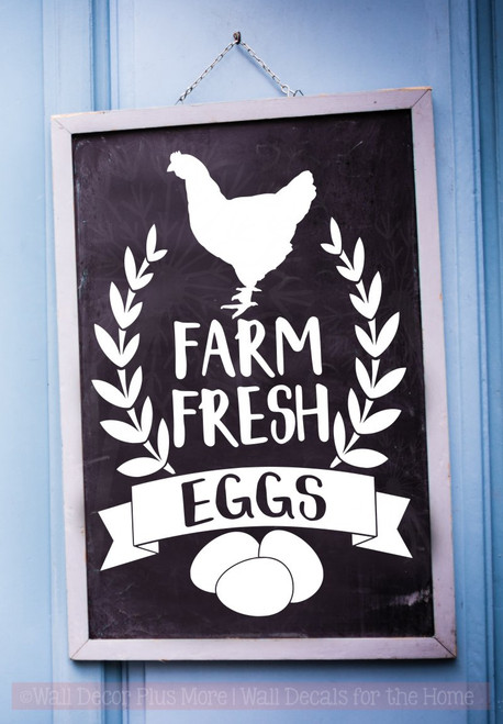 Farm Fresh Eggs Vinyl Art Decals Farmhouse Decor Wall Art Stickers-White