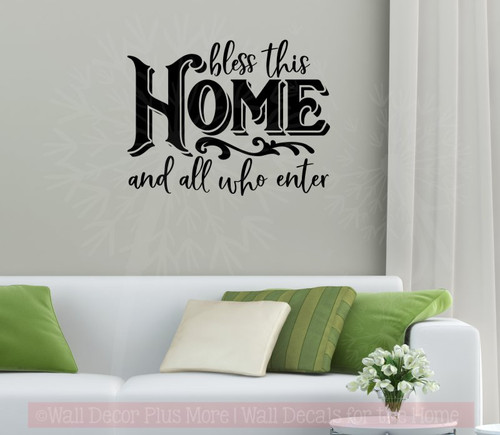 Bless This Home All Who Enter Kitchen Wall Decor Decals Vinyl Letters Black