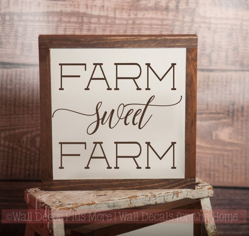Framed Wood Farm Sweet Farm Wood Sign Metal Inspiring Words Hanging Wall Art, 3 Sign Choices