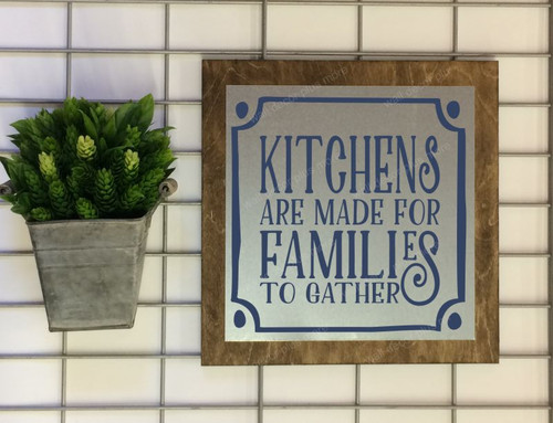 Metal on Wood Kitchens are Made for Families to Gather Wood Sign Metal Inspiring Words Hanging Wall Art, 3 Sign Choices-Deep Blue
