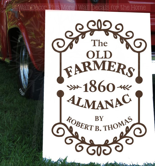 Farmers 1860 Almanac Vintage Wall Sign Stickers Vinyl Lettering Decals-Chocolate