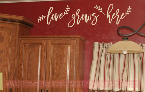 Love Grows Here Laurel Leaves Cursive Lettering Quotes Wall Decal Stickers-Beige