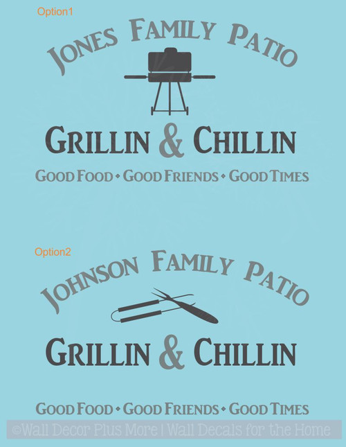 Family Patio Personalized Name Vinyl Art Decals Camper Wall Stickers