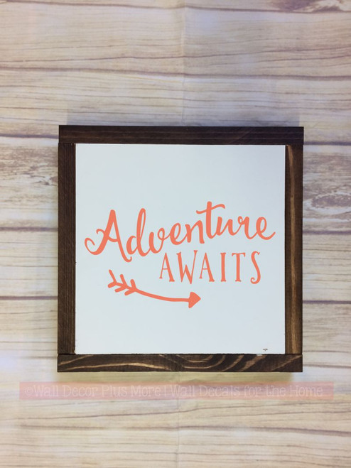 Framed Wood Adventure Awaits with Arrow Art Wood Sign Metal with Quote, Hanging Wall Art, 3 Sign Choices-Coral